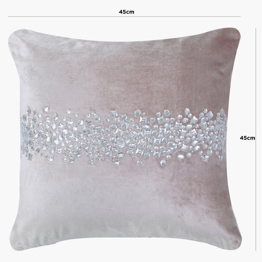 Diamond Beaded Cushion in Pink | HOS Home | Mirrored furniture | Affordable Luxury