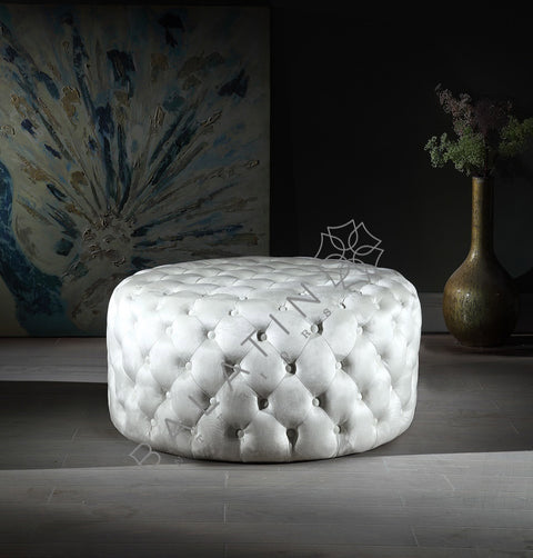 Cream Shiney Dove Round Buttoned Pouffe