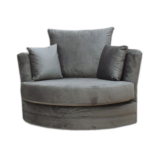 Velvet Cuddle Chair in Charcoal Grey