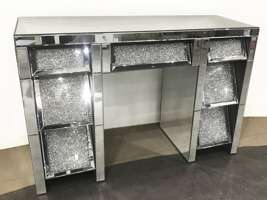 Diamond Crush on front 7 Drawer Mirrored Dressing Table | HOS Home | Mirrored furniture | Affordable Luxury