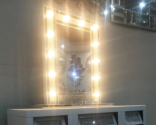 Diamond Crush Mirrored Hollywood Mirror | HOS Home | Mirrored furniture | Affordable Luxury