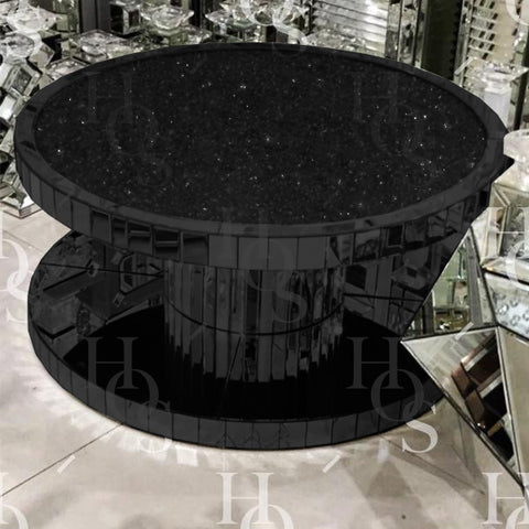 Black Mirror Crush Circular Coffee Table - Mirrored furniture - Sparkle Diamond - House of Sparkles