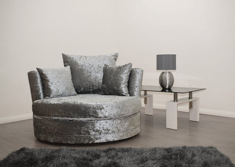 Cuddle Chair in Silver Crushed Velvet - Mirrored furniture - Sparkle Diamond - House of Sparkles
