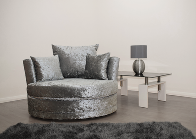 Cuddle Chair in Silver Crushed Velvet | HOS Home | Mirrored furniture | Affordable Luxury