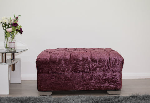 Crushed Velvet Footstool in Mulberry - Mirrored furniture - Sparkle Diamond - House of Sparkles