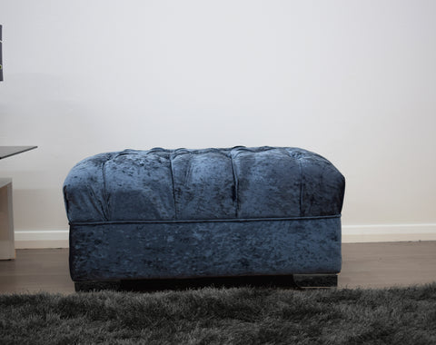 Crushed Velvet Footstool in Blue - Mirrored furniture - Sparkle Diamond - House of Sparkles