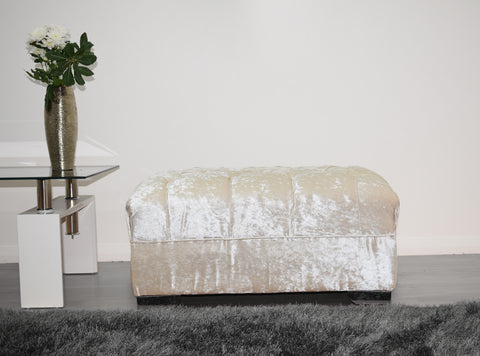 Crushed Velvet Footstool in Cream - Mirrored furniture - Sparkle Diamond - House of Sparkles