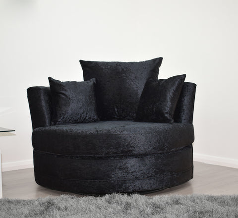 Cuddle Chair in Black Crushed Velvet - Mirrored furniture - Sparkle Diamond - House of Sparkles