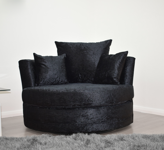 Cuddle Chair in Black Crushed Velvet | HOS Home | Mirrored furniture | Affordable Luxury