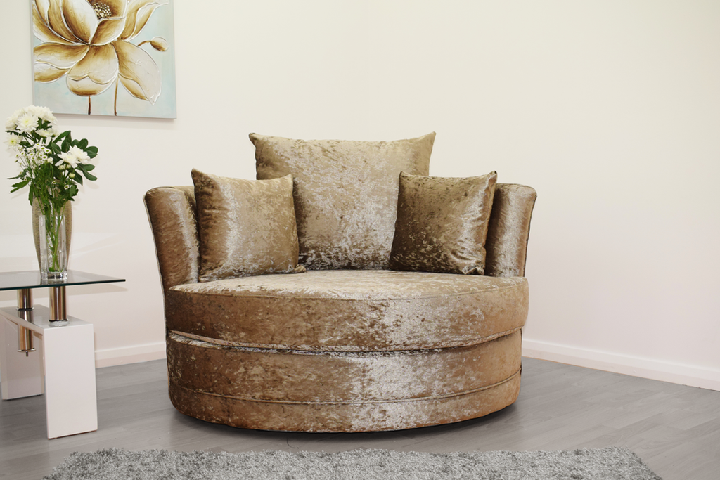 Cuddle Chair in Mink Crushed Velvet - Mirrored furniture - Sparkle Diamond - House of Sparkles