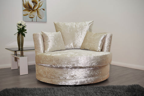 Cuddle Chair in Cream Crushed Velvet - Mirrored furniture - Sparkle Diamond - House of Sparkles