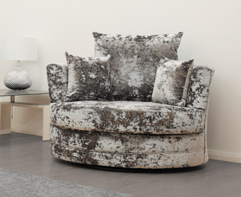 Double Crush Cuddle Chair in Silver Crushed Velvet | HOS Home | Mirrored furniture | Affordable Luxury