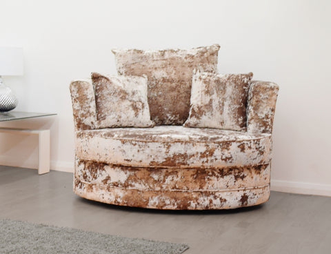 Double Crush Cuddle Chair in Gold Crushed Velvet