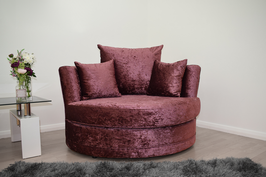 Cuddle Chair in Mulberry Crushed Velvet | HOS Home | Mirrored furniture | Affordable Luxury