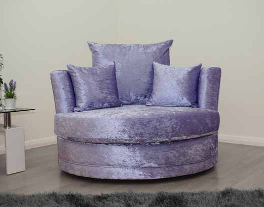 Cuddle Chair in Lavender Crushed Velvet | HOS Home | Mirrored furniture | Affordable Luxury