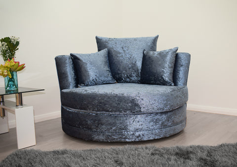 Cuddle Chair in Blue Crushed Velvet - Mirrored furniture - Sparkle Diamond - House of Sparkles