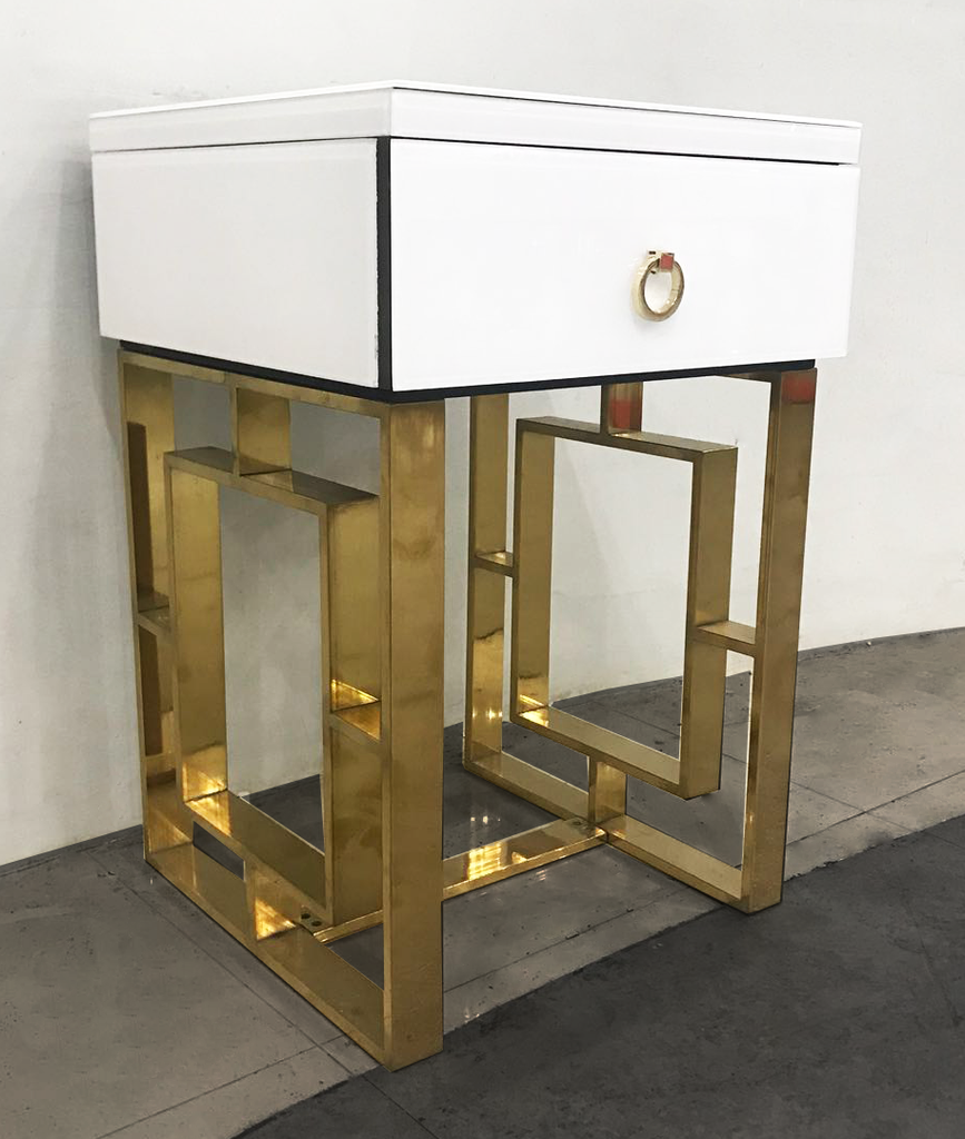 The Dubai White and Gold Bedside Table