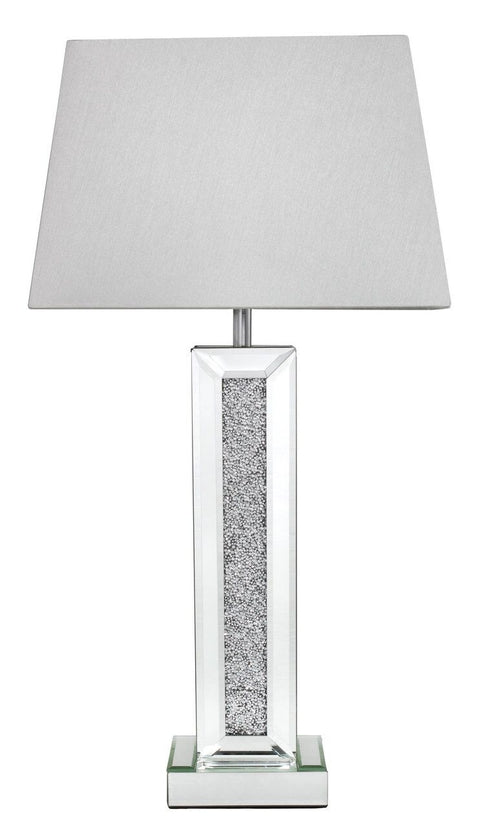 Sparkle Diamond Mirror Pillar Lamp With 13 Inch White Shade