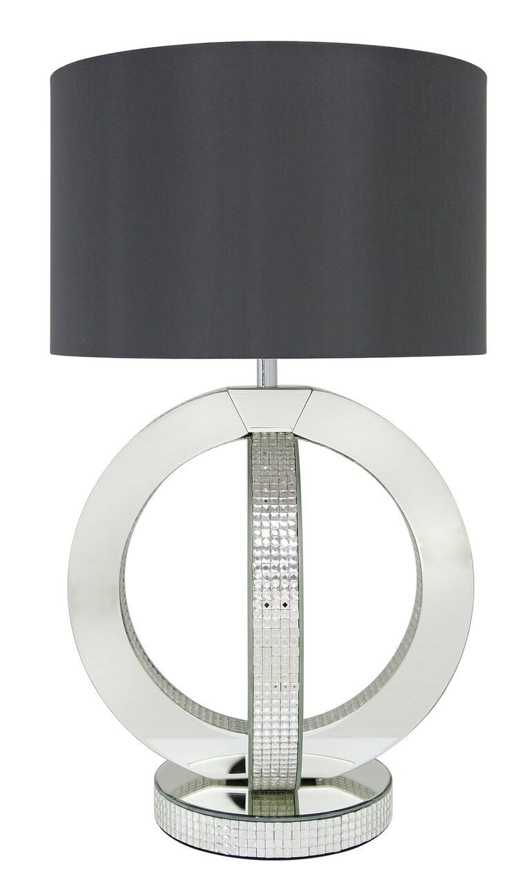 Glitz Astoria Table Lamp With 16 Inch Grey Faux Silk Cylinder Shade - Mirrored furniture - Sparkle Diamond - House of Sparkles