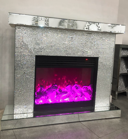 Diamond Glitz Fireplace | HOS Home | Mirrored furniture | Affordable Luxury