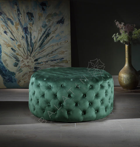 Green Dove Round Buttoned Pouffe