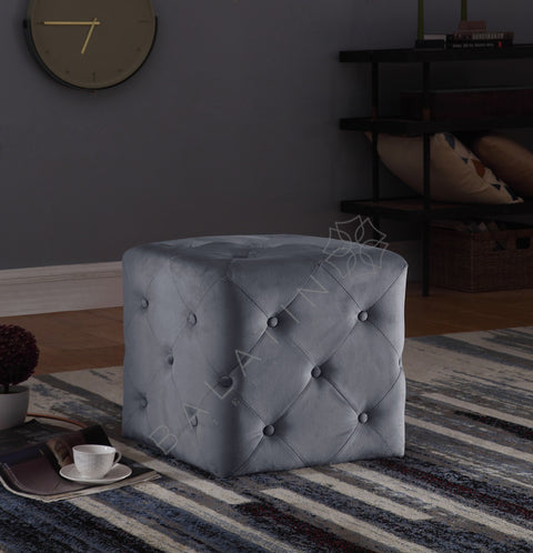 Grey Square Dove Buttoned Stool