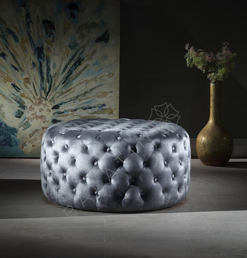 Grey Shiney Dove Round Buttoned Pouffe