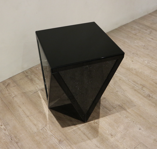 Black Mirror Crush V Mirrored Side Table | HOS Home | Mirrored furniture | Affordable Luxury