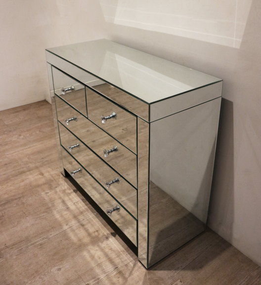 5 Drawer Classic Mirrored Chest of Drawers | HOS Home | Mirrored furniture | Affordable Luxury