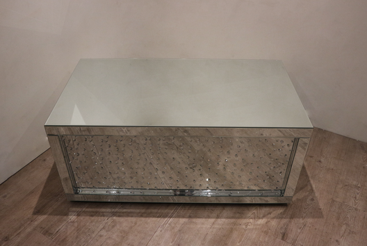 Floating Crystal Rectangular Mirrored Coffee Table