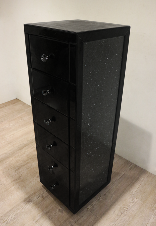 Black Mirror Crush 6 Drawer Mirrored Tallboy | HOS Home | Mirrored furniture | Affordable Luxury