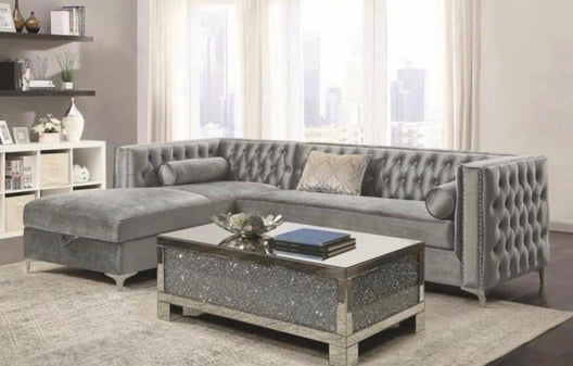 November Delivery - Mirrored Diamond Crush Rectangular Coffee Table