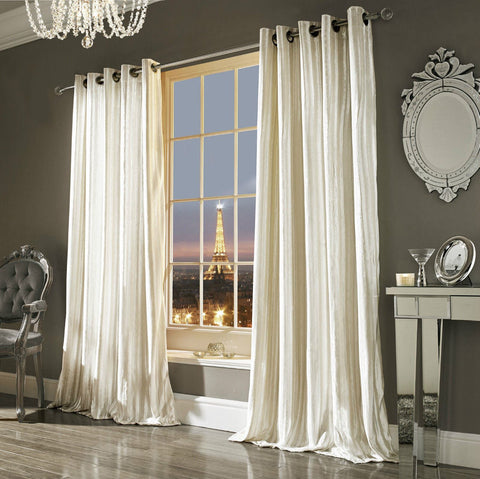 Kylie Curtains - Iliana Lined Eyelet Curtains Oyster - Mirrored furniture - Sparkle Diamond - House of Sparkles