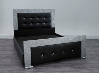 Black Barcelona Glitter Bed | HOS Home | Mirrored furniture | Affordable Luxury