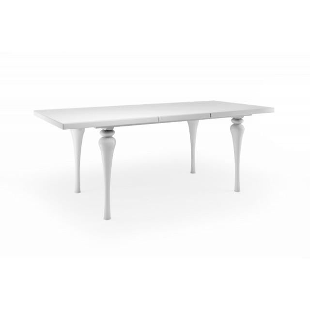 Empire White Extending Dining Table High Gloss - Mirrored furniture - Sparkle Diamond - House of Sparkles