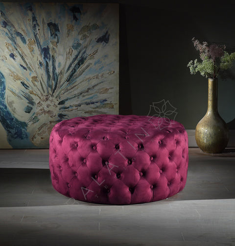Maroon Dove Round Buttoned Pouffe