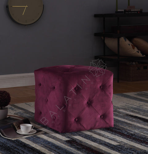 Maroon Square Dove Buttoned Stool