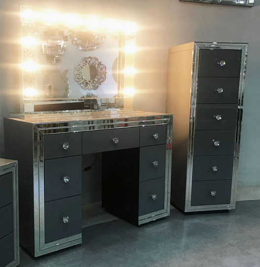 Premium Grey Mirrored Tallboy