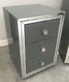 Premium Grey Mirrored Bedside Table