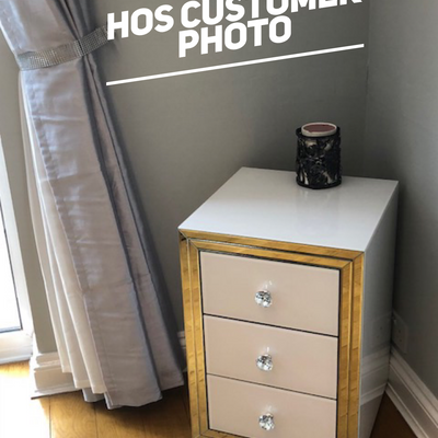 Premium White Mirror 3 Drawer Bedside Table - PRE ORDER FOR JAN 2019