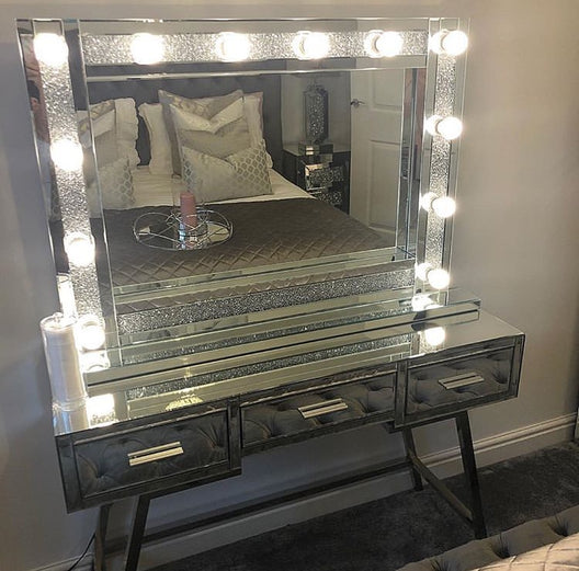 Large Diamond Crush Mirrored Hollywood Mirror
