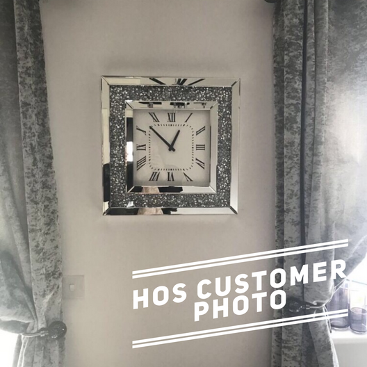 Diamond Crush Mirrored Wall Clock | HOS Home | Mirrored furniture | Affordable Luxury