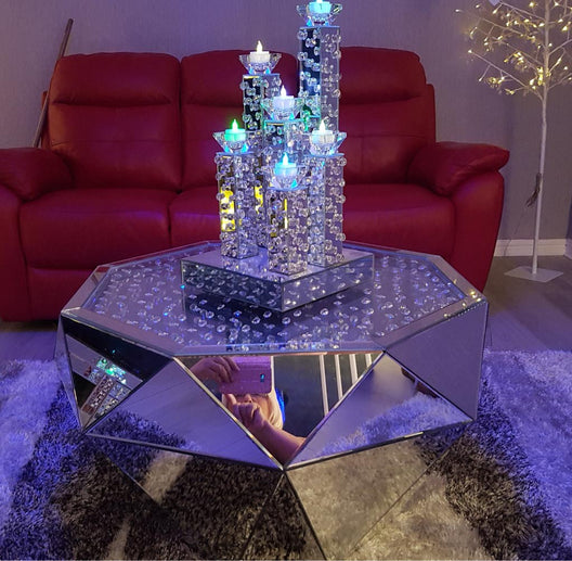 Floating Crystal Classic Mirrored Coffee Table