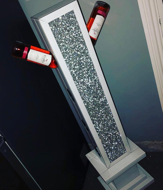 White Mirror Crush Mirrored Wine Bottle Holder