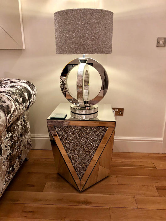 Diamond Crush V Mirrored Side Table | HOS Home | Mirrored furniture | Affordable Luxury