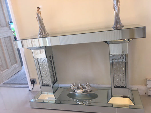 Floating Crystal Pillar Mirrored Console Table