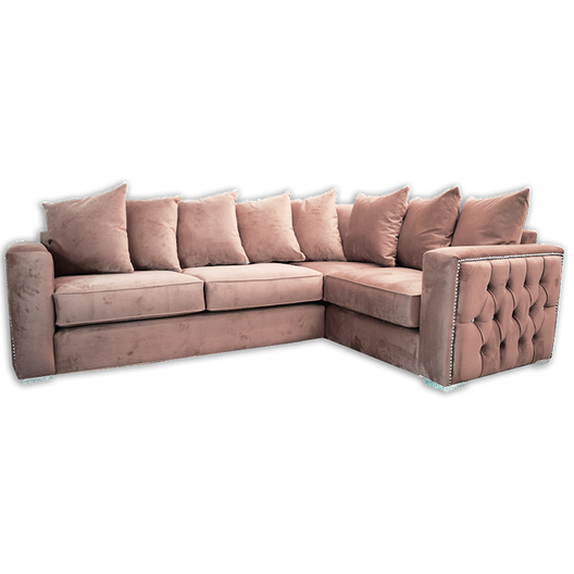 Isabella Chesterfield Side Corner Sofa in Rose Pink