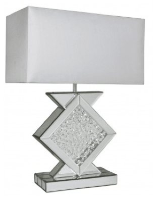 Floating Crystal Lamp With Rectangular 20 Inch White Shade - Mirrored furniture - Sparkle Diamond - House of Sparkles