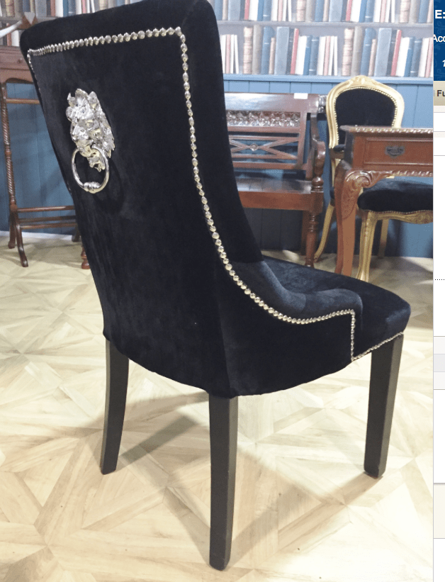 Lion Dining Chair Black - Mirrored furniture - Sparkle Diamond - House of Sparkles