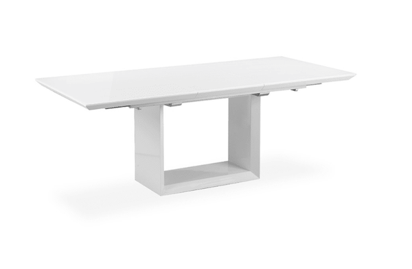 The white high gloss extending dining table house of for Caprice marble dining table